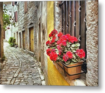 Cobblestone Streets Of Bale Metal Print