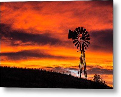 Cobblestone Windmill At Sunset Metal Print