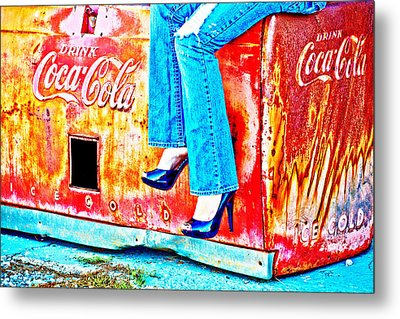 Coca-cola And Stiletto Heels Metal Print