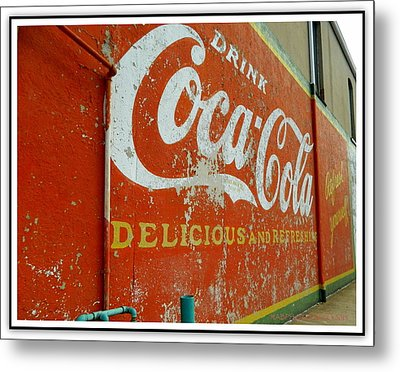 Metal Print featuring the photograph Coca-cola On The Army Store Wall by Kathy Barney