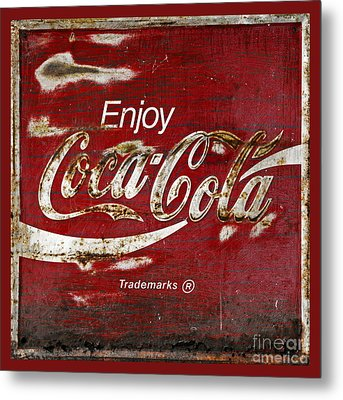 Coca Cola Red Grunge Sign Metal Print by John Stephens