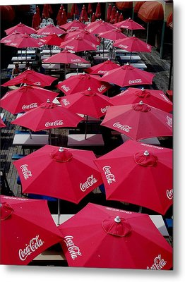 Coca Cola Red Umbrella's Metal Print by Rick Todaro