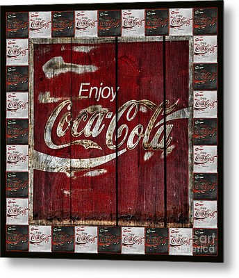 Coca Cola Sign With Little Cokes Border Metal Print