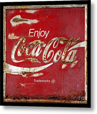 Coca Cola Vintage Rusty Sign Metal Print by John Stephens
