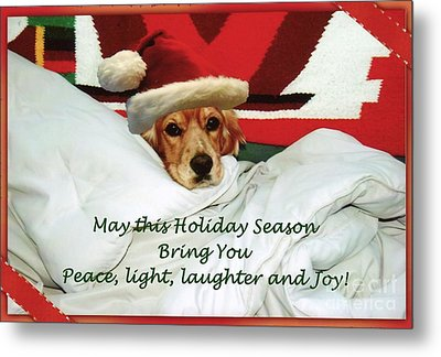 Metal Print featuring the photograph Cocker Spaniel Santa Greetings by Polly Peacock