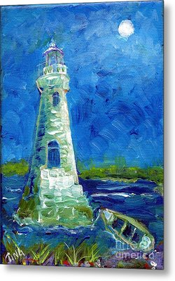 Metal Print featuring the painting Cockspur Lighthouse Mini #7 by Doris Blessington