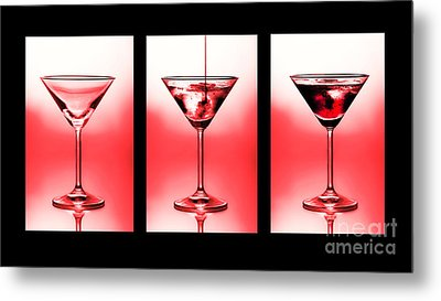 Cocktail Triptych In Red Metal Print by Jane Rix
