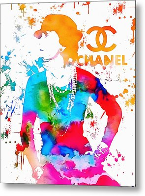 Coco Chanel Paint Splatter Metal Print
