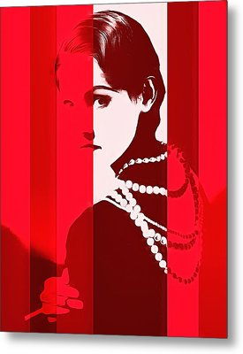 Coco Chanel Red Stripes Metal Print