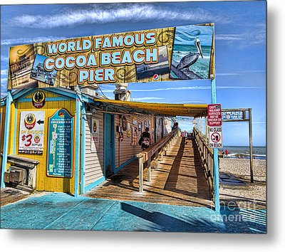 Cocoa Beach Pier In Florida Metal Print by David Smith