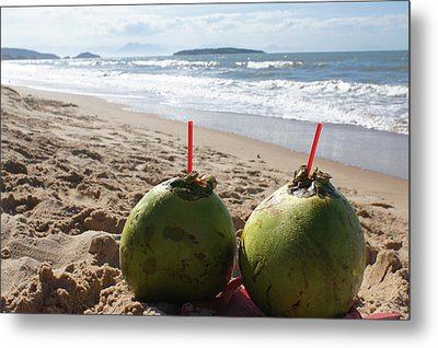 Coconuts Juice On The Beach Metal Print by Chikako Hashimoto Lichnowsky