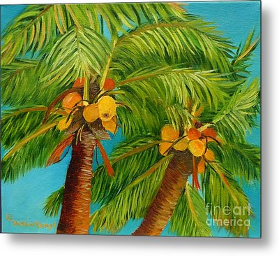 Metal Print featuring the painting Coco's In The Keys - Key West Palm Tree With Coconuts by Shelia Kempf