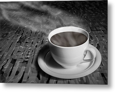 Coffe Cup And Saucer With Alphabet Lettering Metal Print by Randall Nyhof