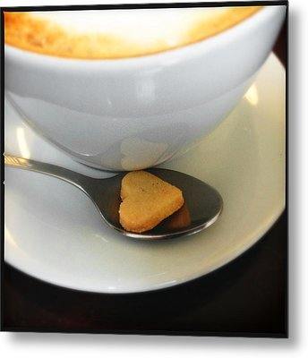 Coffee And Heart Shaped Cookie Metal Print by Matthias Hauser