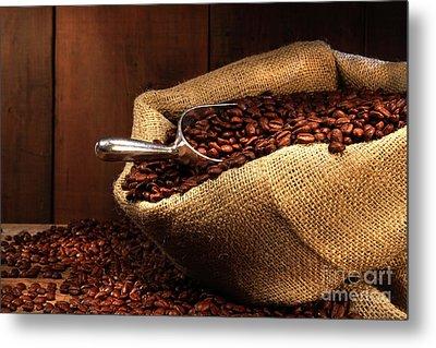 Coffee Beans In Burlap Sack Metal Print by Sandra Cunningham