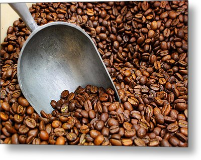 Coffee Beans With Scoop Metal Print by Jason Politte