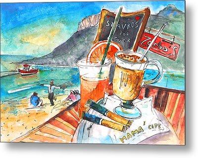 Coffee Break In Stavros In Crete Metal Print by Miki De Goodaboom