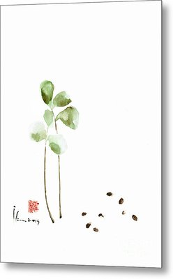 Coffee Cafe Plant And Beans Brown Green Watercolor Painting Kitchen Art Metal Print by Mariusz Szmerdt