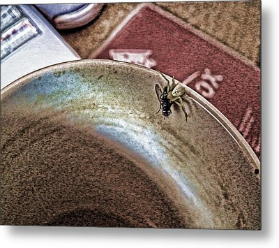 Metal Print featuring the digital art Coffee Cup Spider Fly Oh My by Robert Rhoads