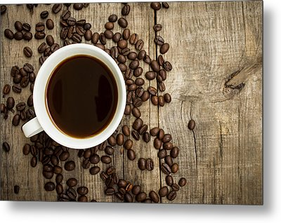 Coffee Cup With Beans Metal Print by Aged Pixel