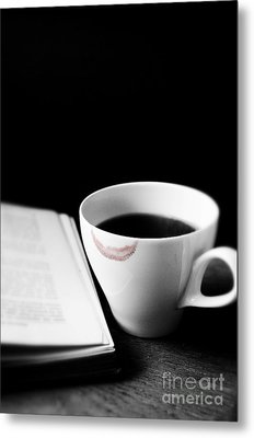Coffee Cup With Lipstick Mark And Book Metal Print by Birgit Tyrrell