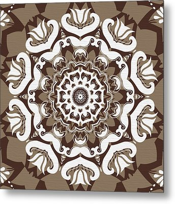 Coffee Flowers 10 Ornate Medallion Metal Print by Angelina Vick