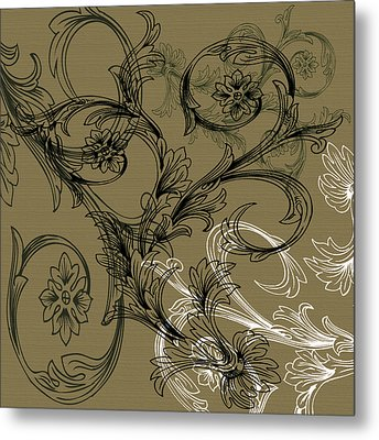 Coffee Flowers 3 Olive Metal Print by Angelina Vick