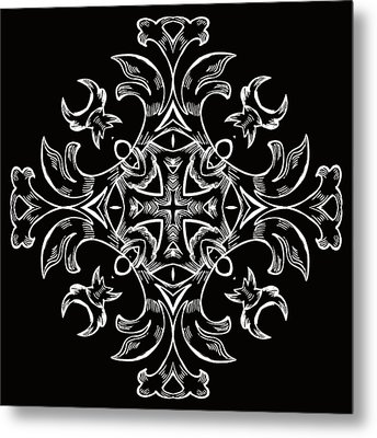 Coffee Flowers 7 Bw Ornate Medallion Metal Print by Angelina Vick
