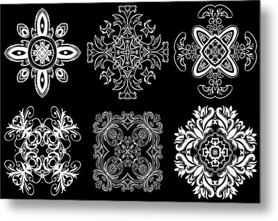 Coffee Flowers Ornate Medallions Bw 6 Peice Collage Metal Print by Angelina Vick