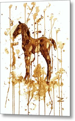 Coffee Foal Metal Print by Zaira Dzhaubaeva