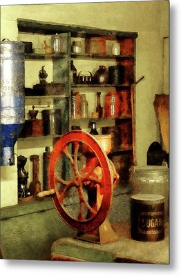 Coffee Grinder And Canister Of Sugar Metal Print by Susan Savad