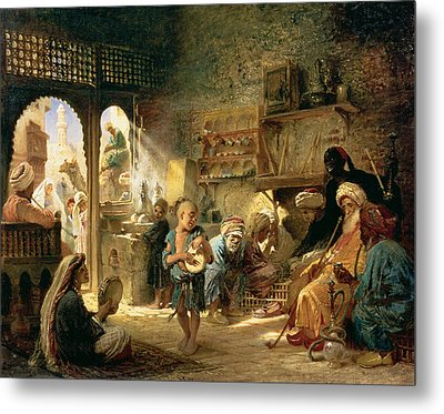 Coffee House In Cairo, 1870s Metal Print