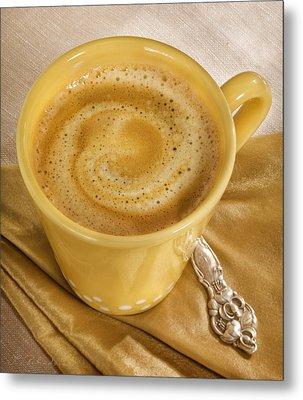 Coffee In Yellow Metal Print by Iris Richardson