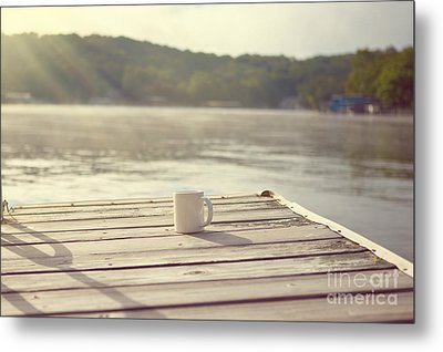 Coffee On The Dock Metal Print by Kay Pickens