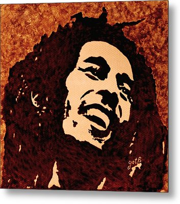 Coffee Painting Bob Marley Metal Print by Georgeta  Blanaru