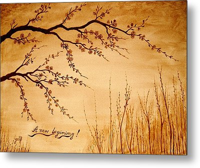 Coffee Painting Cherry Blossoms Metal Print