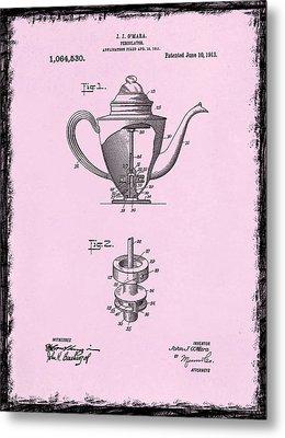 Coffee Percolator Patent 1918 Metal Print