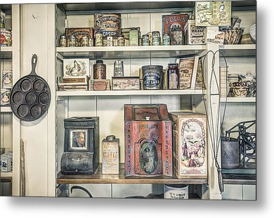 Coffee Tobacco And Spice - On The Shelves At A 19th Century General Store Metal Print by Gary Heller