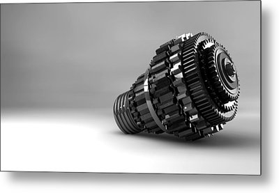 Cogwheel Lightbulb Shape Concept Metal Print by Allan Swart
