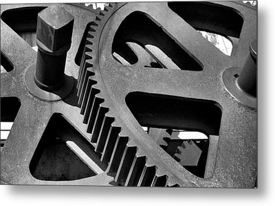 Metal Print featuring the photograph Cogwheels In Black And White by Nadalyn Larsen