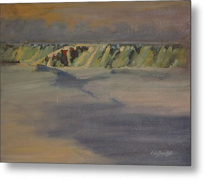 Metal Print featuring the painting Cohoes Falls In Winter by Len Stomski