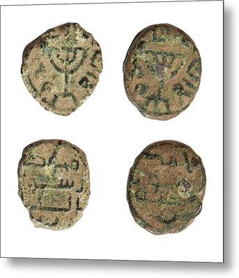 Coin Depicting Menorah Metal Print