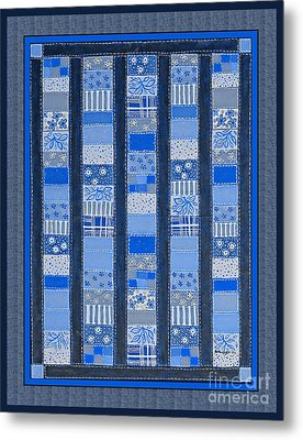 Coin Quilt -  Painting - Blue Patches Metal Print