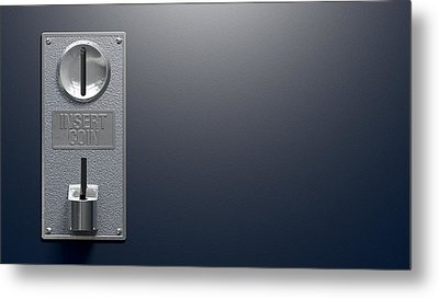 Coin Slot On Blue Background Metal Print by Allan Swart