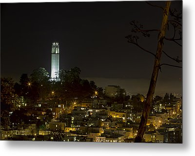 Coit Tower By Night Metal Print