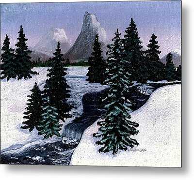Cold Mountain Brook Painterly Metal Print by Barbara Griffin