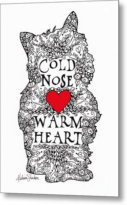 Metal Print featuring the drawing Cold Nose Warm Heart by Melissa Sherbon