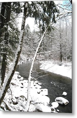 Cold River Greeting Card Metal Print by Will Boutin Photos