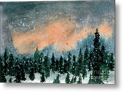 Cold Snow At Twilight Metal Print