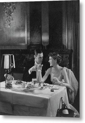 Colin Clive And Rose Hobart At Waldorf Metal Print